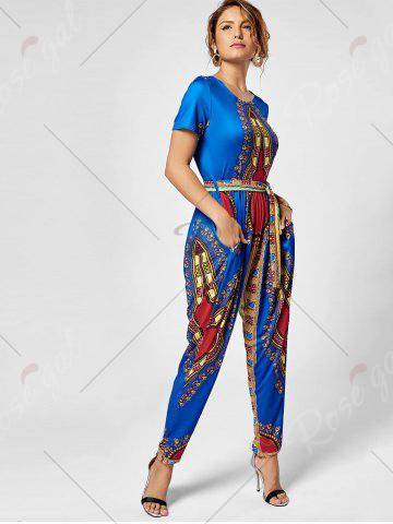 Cheap Tribe Print Jumpsuit - 2XL ROYAL Mobile