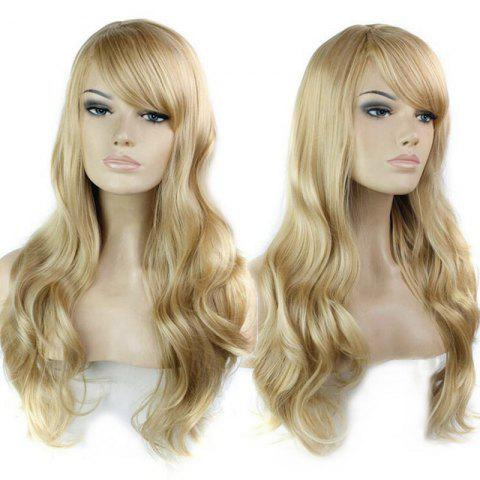 Unique Long Side Bang Wavy Human Hair Wig - BLONDE  Mobile
