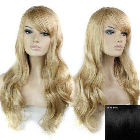 Shops Long Side Bang Wavy Human Hair Wig - JET BLACK #01  Mobile