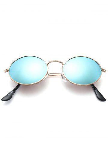 Trendy Oval Metal Frame Anti UV Sunglasses - AZURE  Mobile