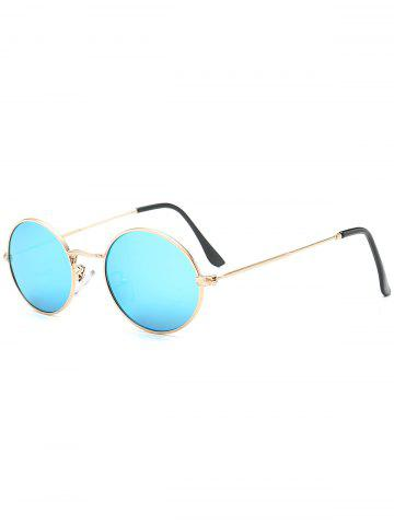 Fancy Oval Metal Frame Anti UV Sunglasses - AZURE  Mobile