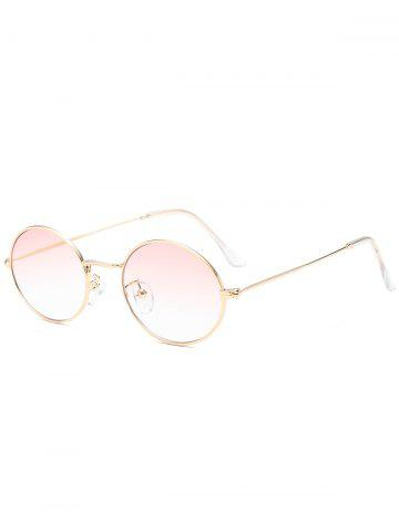 Sale Oval Metal Frame Anti UV Sunglasses LIGHT PINK