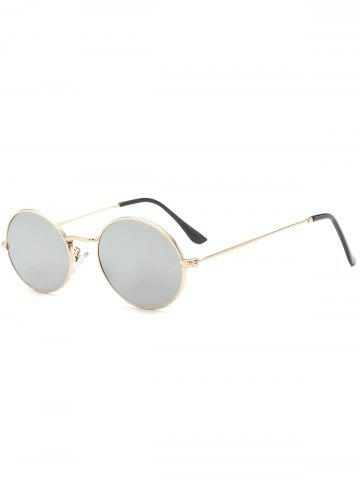 Oval Metal Frame Anti UV Sunglasses - Silver