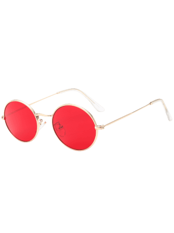 Fancy Oval Metal Frame Anti UV Sunglasses - RED  Mobile