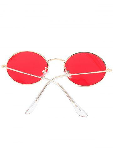 Cheap Oval Metal Frame Anti UV Sunglasses - RED  Mobile