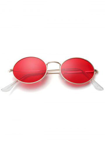 Best Oval Metal Frame Anti UV Sunglasses - RED  Mobile