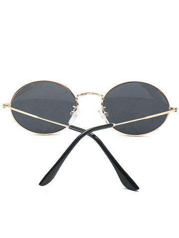 Sale Oval Metal Frame Anti UV Sunglasses - BLACK  Mobile
