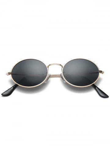 Cheap Oval Metal Frame Anti UV Sunglasses - BLACK  Mobile