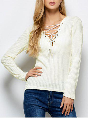 Lace Up Ribbed Jumper - White - M