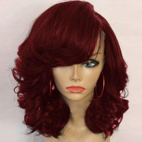 Medium Side Parting Shaggy Curly Synthetic Wig - Wine Red