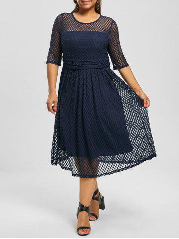 Plus Size Lace A Line Homecoming Dress - Purplish Blue - 7xl