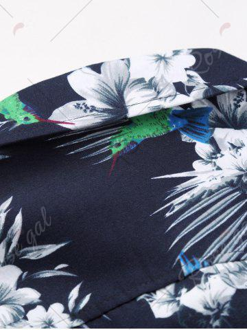 Best Flowers and Birds Print Plus Size Hawaiian Shirt - 5XL COLORMIX Mobile