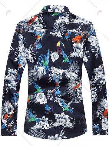 Store Flowers and Birds Print Plus Size Hawaiian Shirt - 7XL COLORMIX Mobile