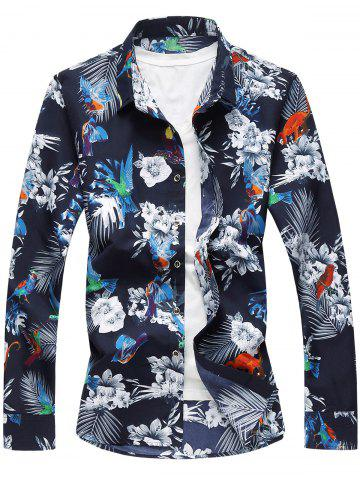 Fancy Flowers and Birds Print Plus Size Hawaiian Shirt - 7XL COLORMIX Mobile