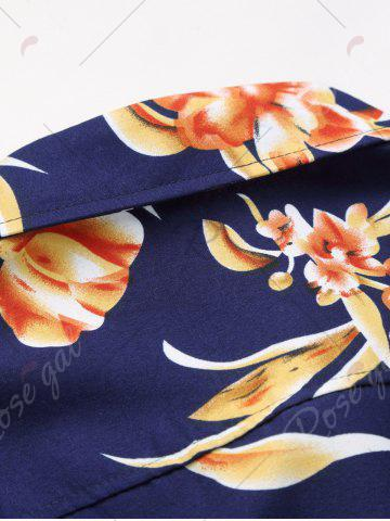 Buy Plus Size Long Sleeve 3D Flowers Print Hawaiian Shirt - 7XL COLORMIX Mobile