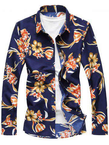 New Plus Size Long Sleeve 3D Flowers Print Hawaiian Shirt - 7XL COLORMIX Mobile