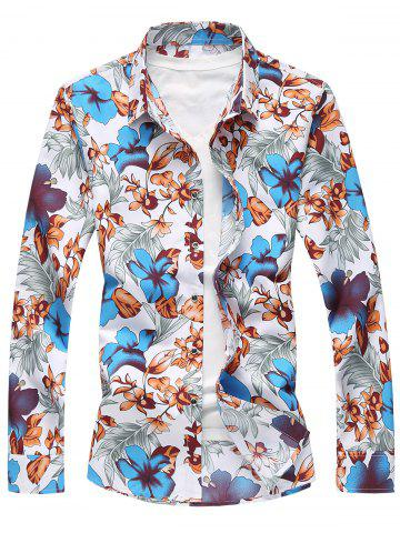 Buy Plus Size Long Sleeve Flowers and Leaves Print Shirt BLUE 5XL