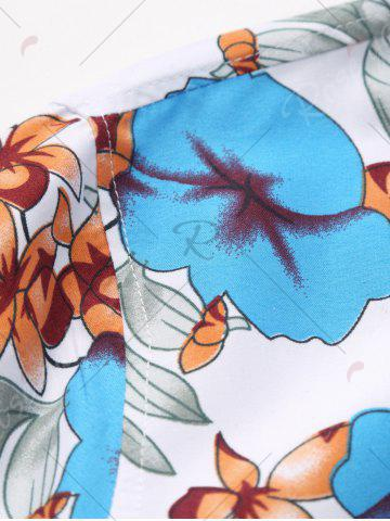 Discount Plus Size Long Sleeve Flowers and Leaves Print Shirt - 5XL BLUE Mobile