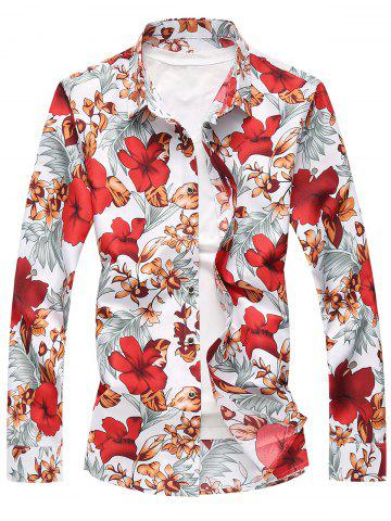 Buy Plus Size Long Sleeve Flowers and Leaves Print Shirt RED 5XL