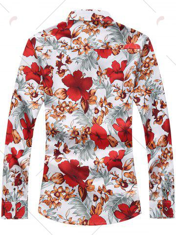 Fancy Plus Size Long Sleeve Flowers and Leaves Print Shirt - 7XL RED Mobile