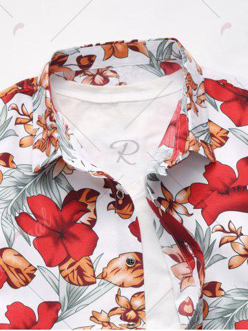 Trendy Plus Size Long Sleeve Flowers and Leaves Print Shirt - 7XL RED Mobile
