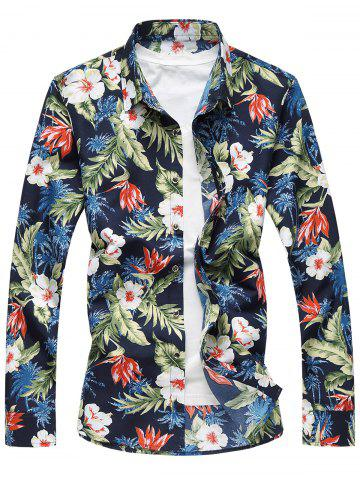 Buy Plus Size Long Sleeve 3D Flowers and Leaves Print Shirt COLORMIX 7XL