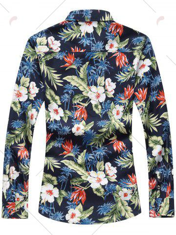 Sale Plus Size Long Sleeve 3D Flowers and Leaves Print Shirt - 7XL COLORMIX Mobile