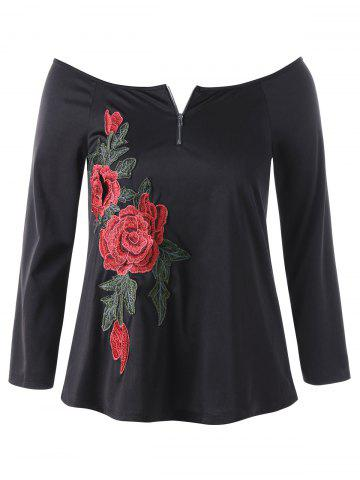 Embroidery Off The Shoulder Plus Size Top - Black - 2xl