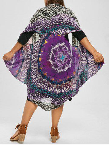 New Printed Top and Knee Length Plus Size Dress PURPLE 2XL