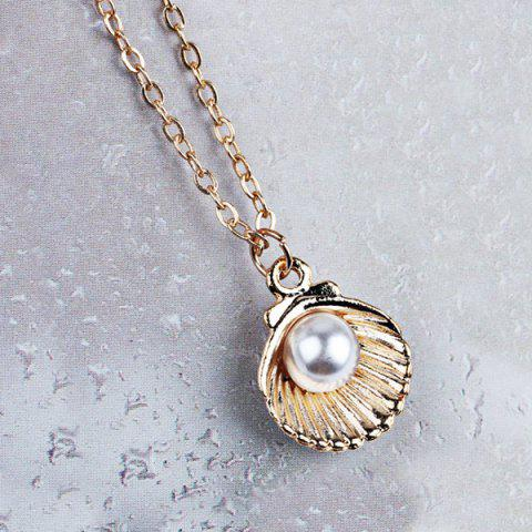 Trendy Artificial Pearl Shell Pendant Necklace GOLDEN