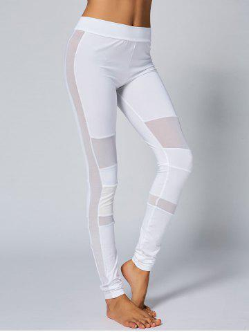 Discount High Waist Mesh Panel Yoga Leggings - L WHITE Mobile