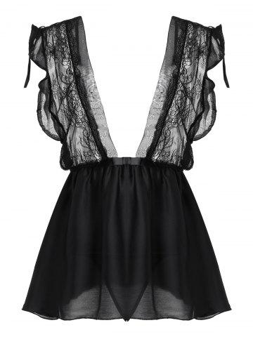 Cheap Lace Insert Plunge Flounce Babydoll - ONE SIZE BLACK Mobile