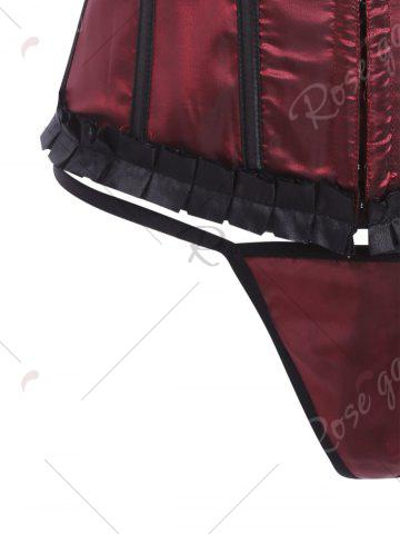 Hot Lace-Up Body Shaping Corset - L WINE RED Mobile