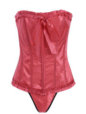 Cheap Lace-Up Body Shaping Corset - 2XL ORANGE RED Mobile