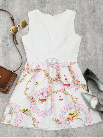Outfits A Line Jacquard Mini Floral Dress - L WHITE Mobile