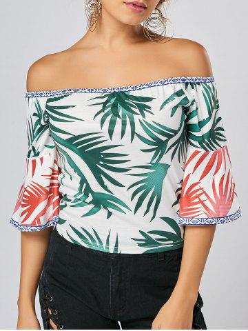 Tropical Print Flare Sleeve Off Shoulder Top - Green - S