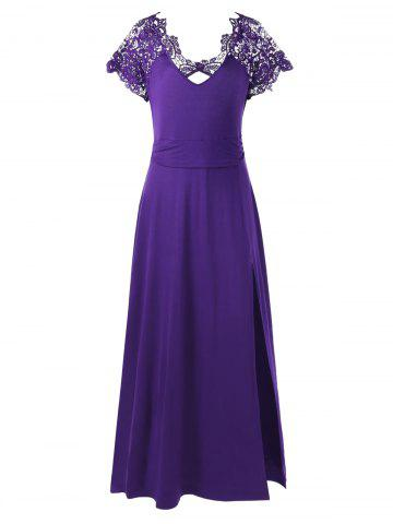 Plus Size Lace Trim High Slit Prom Dress - Purple - 5xl