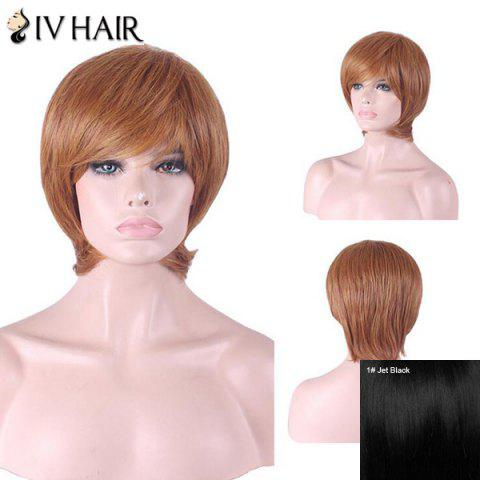 Sale Siv Hair Short Inclined Bang Straight Human Hair Wig - JET BLACK #01  Mobile