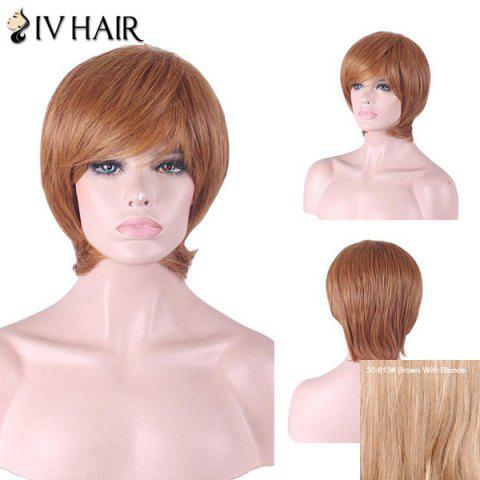 Hot Siv Hair Short Inclined Bang Straight Human Hair Wig - BROWN WITH BLONDE  Mobile