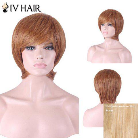 Best Siv Hair Short Inclined Bang Straight Human Hair Wig - GOLDEN BROWN WITH BLONDE  Mobile