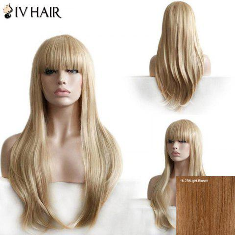 Siv Hair Long Neat Bang Layered Straight Hair Hair Wig 18/27# Blonde Léger