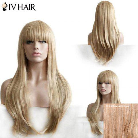 New Siv Hair Long Neat Bang Layered Straight Human Hair Wig - BROWN WITH BLONDE  Mobile