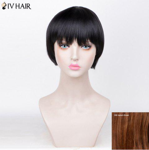 Online Siv Hair Straight Short Full Fringe Bob Human Hair Wig - AUBURN BROWN #30  Mobile