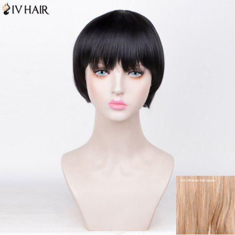Siv Hair Straight Short Full Fringe Bob Perruque de cheveux humains 30/613# Brown Avec Blonde