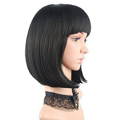 Outfit Full Bang Short Straight Bob Human Hair Wig - JET BLACK #01  Mobile