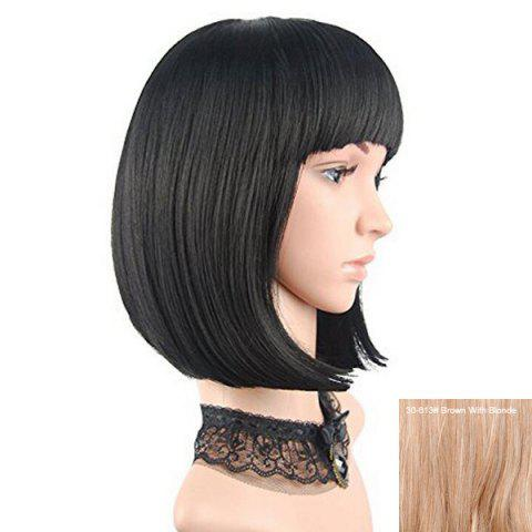 Sale Full Bang Short Straight Bob Human Hair Wig - BROWN WITH BLONDE  Mobile