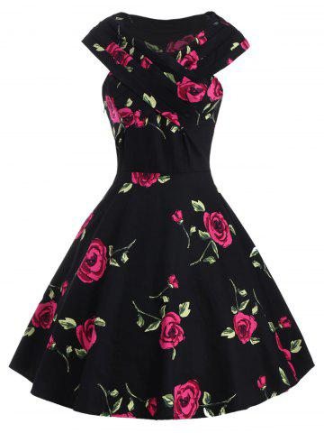 Best Retro Style V-Neck Rose Print Short Sleeve Ball Dress RED XL