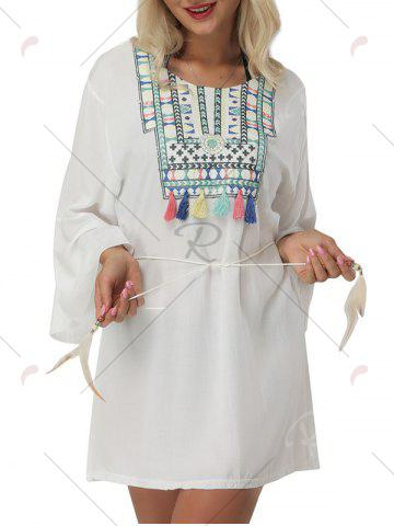 Affordable Bell Sleeve Embroidered Cover Up Mini Dress - ONE SIZE WHITE Mobile