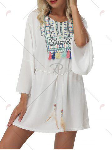 Latest Bell Sleeve Embroidered Cover Up Mini Dress - ONE SIZE WHITE Mobile