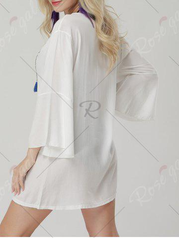 Trendy Bell Sleeve Embroidered Cover Up Mini Dress - ONE SIZE WHITE Mobile